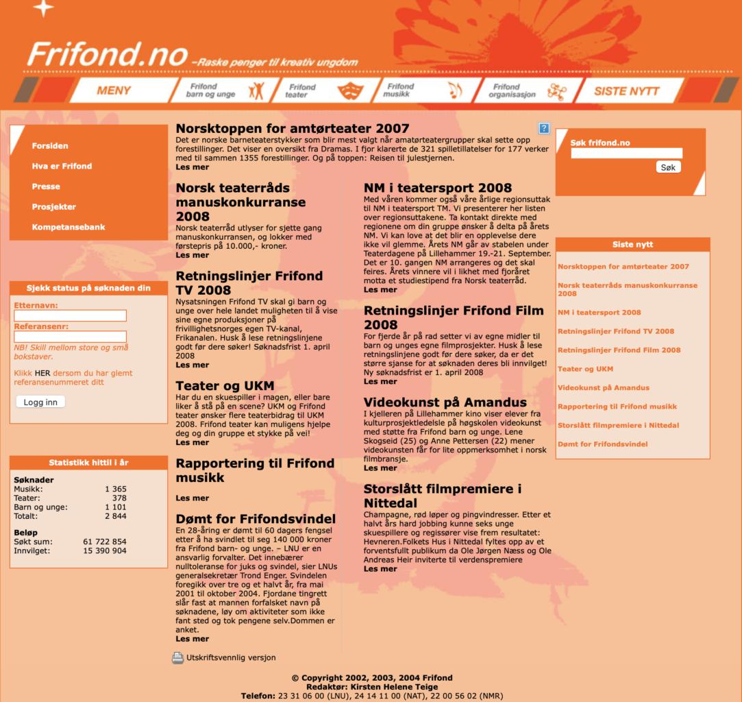 Frifond.no i 2008
